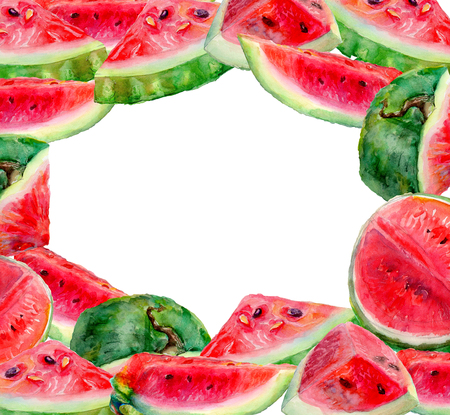 farme: Frame of grape watermelon. Watercolor painting on a white background.