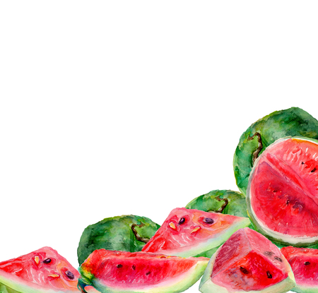 Frame of grape watermelon. Watercolor painting on a white background.