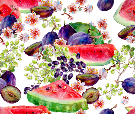 rich in vitamins: Watercolor mixed fruit on a white background. Watercolor seamless pattern.