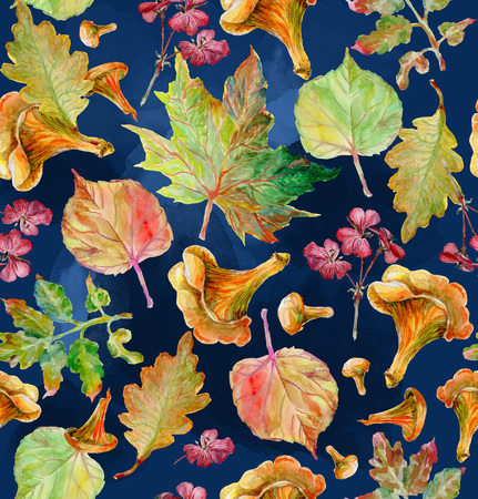 Seamless pattern of watercolor leaves on a blue background.