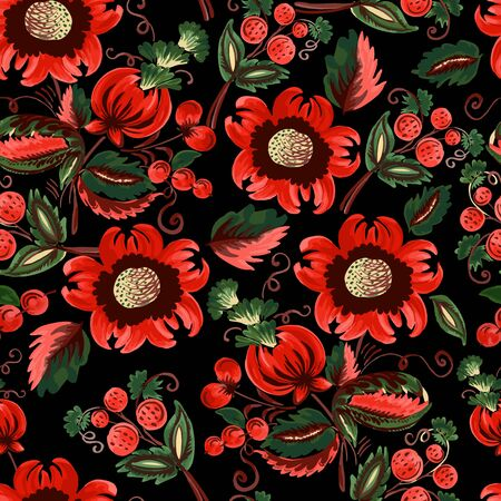 Seamless pattern of decorative flowers and berries on a black backdrop. Иллюстрация