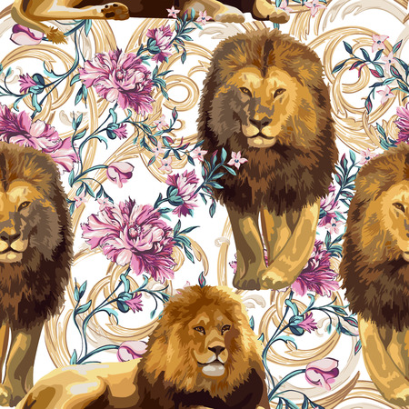 A couple of lions and baroque flowers on a white backdrop. Seamless pattern. Ilustracja