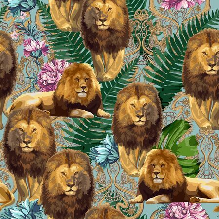 A couple of lions. Vector seamless pattern