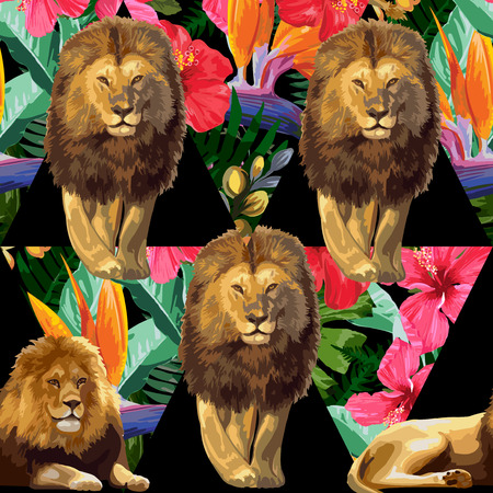 A couple of lions and tropical flowers. Vector seamless pattern. Иллюстрация
