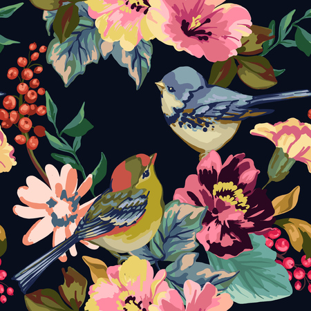 Seamless pattern of flower, berries and birds.