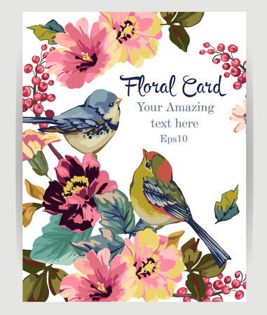 Floral card with flowers and birds on a white background.