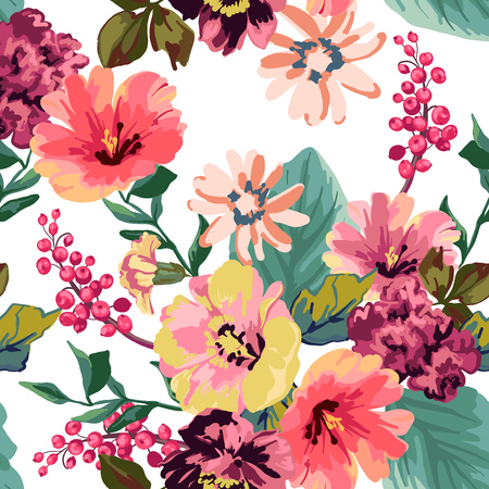 Flowers and berries on a black background. Seamless pattern.