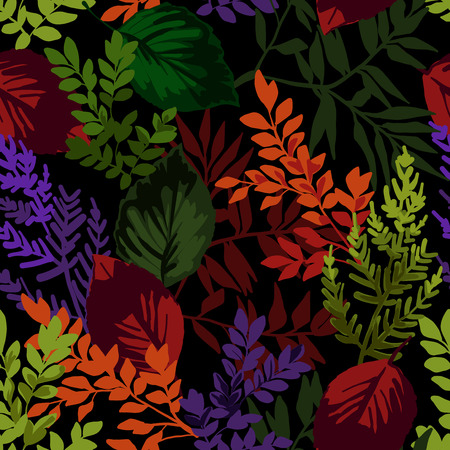 Seamless pattern of autumn leaves on a black background.