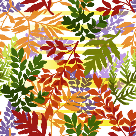 Seamless pattern of autumn leaves on a white background.