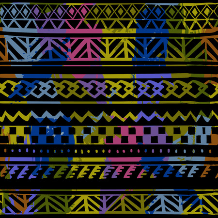 Seamless pattern with ethnic motifs on a blsck background.