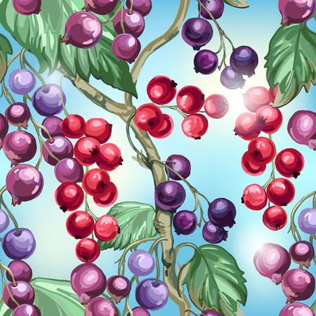 Seamless pattern of berries on a blue background. Illustration