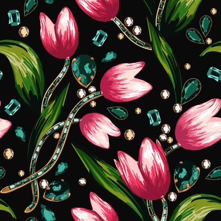 rhinestones: Flowers and rhinestones on a black background Illustration