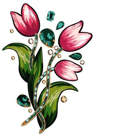 broderie: broderie et paillettes floral sur un fond blanc Illustration