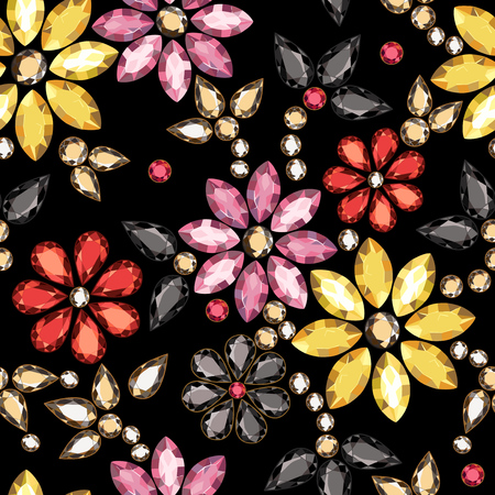 Seamless pattern of decorative strass on a black background.