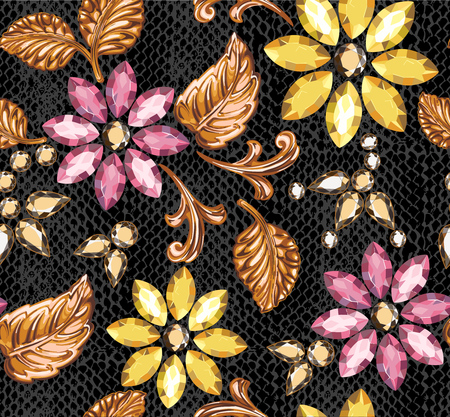 Seamless pattern of decorative strass and gold elements on a python leather.