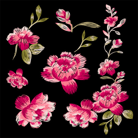 Isolated floral elements on a black background. Immitation embroidery. 版權商用圖片