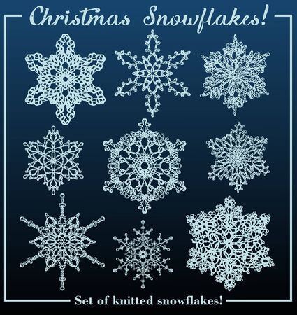 Christmas set of nine isolated knitted snowflakes.