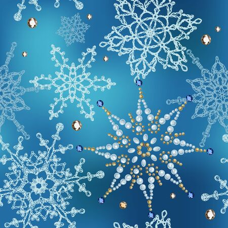 Seamless pattern of knitted snowflakes and crystal.