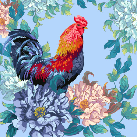 Chicken and flowers in the Chinese style.