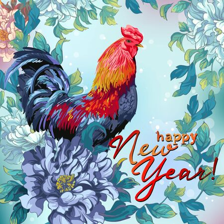 Christmas card with Chicken and flowers in the Chinese style.