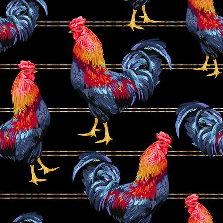 Seamless pattern of chicken in black background.