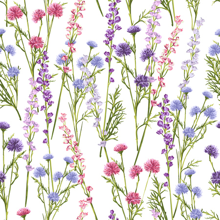 Seamless pattern of spring flowers and grass on a white background.