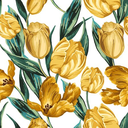 Seamless pattern of yellow tulips on a white background.