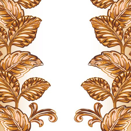 Frame of decorative bronze floral element on a white background.