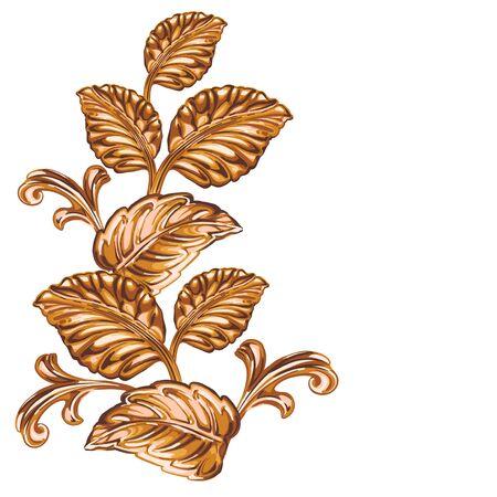 Decorative bronze floral element on a white background. Иллюстрация