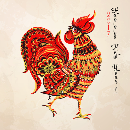 Christmas card with Chicken in light background. Иллюстрация