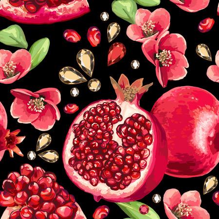 Pomegranate fruit and flowers on a black background Ilustracja