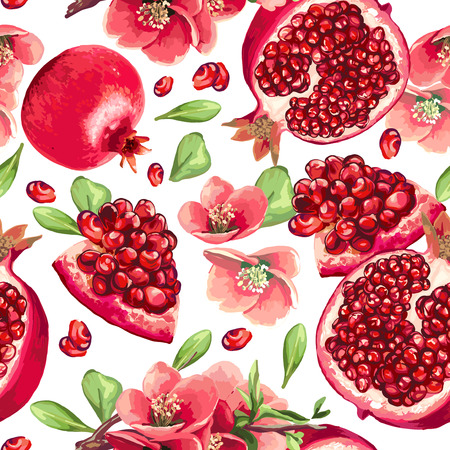 Pomegranate fruit and flowers of pomegranate tree. Seamless pattern.