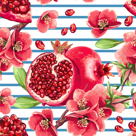 Pomegranate fruit and flowers of pomegranate tree. Seamless pattern on a stripe background. Иллюстрация