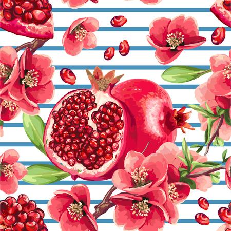 Pomegranate fruit and flowers of pomegranate tree. Seamless pattern on a stripe background. Ilustracja