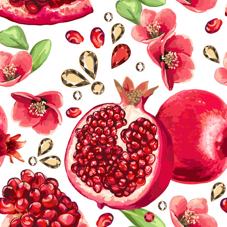 Pomegranate fruit and glass strass on a white background. Seamless pattern.