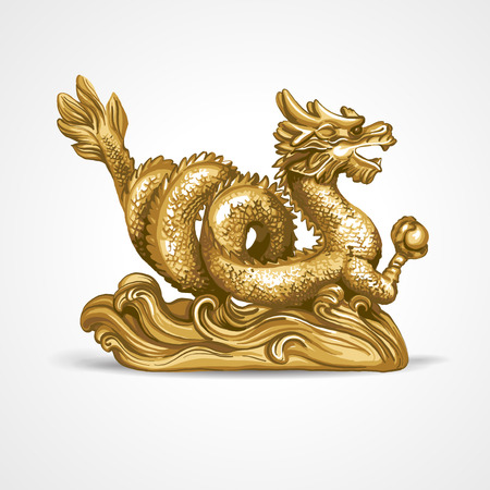 The gold dragon on a white background. Illustration