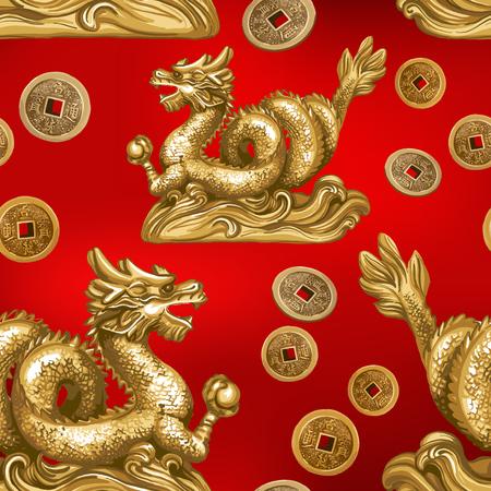 Seamless pattern of the gold dragon. Ilustracja