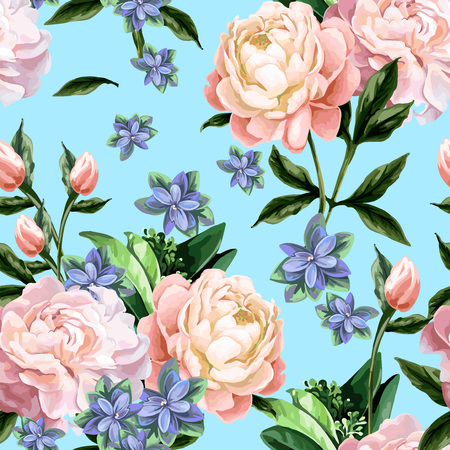 Seamless pattern with peonies and green leaves on a blue background. Stock Photo
