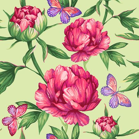 Seamless pattern of large peonies and butterflies Illustration
