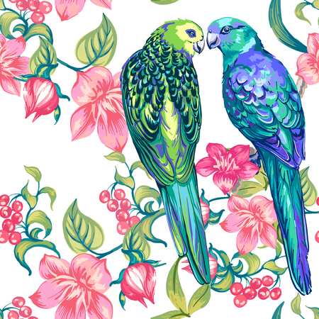 Two colored parrots and flowers. Seamless pattern.