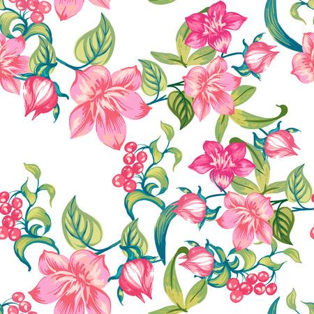 白い背景の上のロマンチックなピンクの花。シームレス パターン。