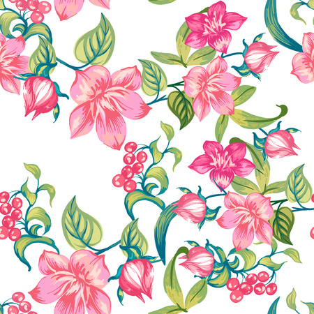 Romantic pink flowers on a white background. Seamless pattern.