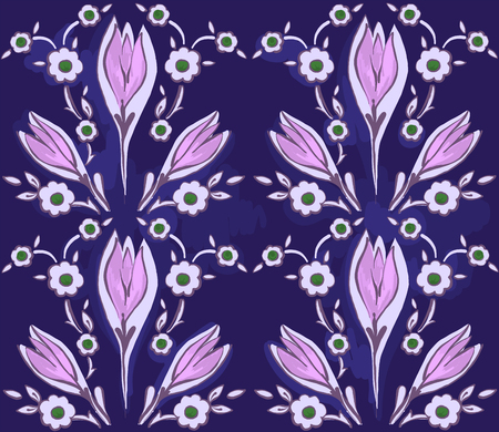 Oriental seamless pattern of decorative flowers on a dark background.