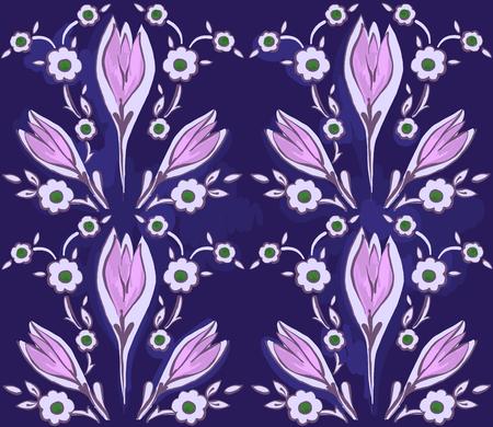 Oriental seamless pattern of decorative flowers on a dark background.