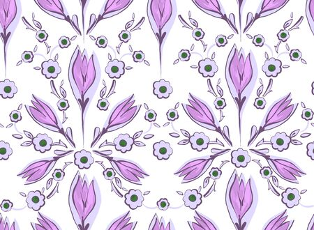 Oriental seamless pattern of decorative flowers on a white background. Illustration