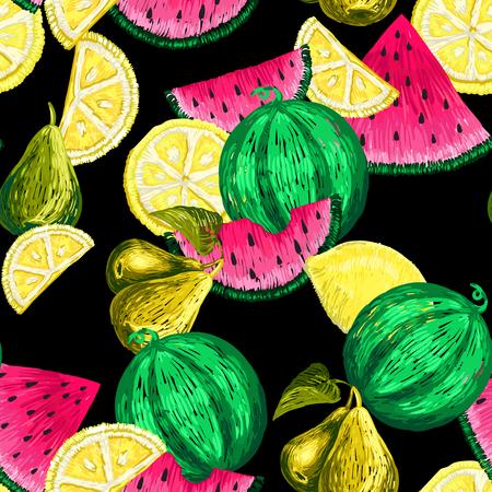 Naadloos patroon van vruchten stickers.