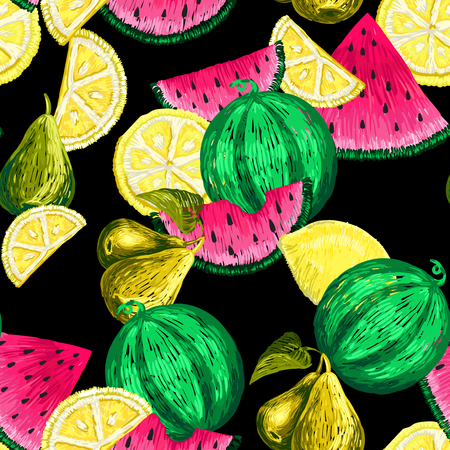 Seamless pattern of Fruits stickers.