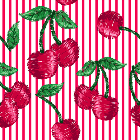 Seamless pattern of cherry and strip.