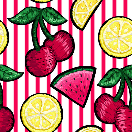 Seamless pattern of patches fruits. Çizim