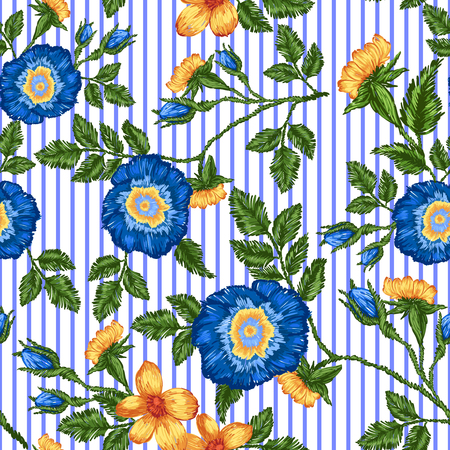 Seamless pattern of floral embroidery and blue stripe. Vettoriali